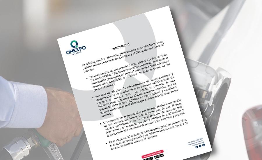 Pide Onexpo reunión con SHCP para analizar precios de gasolinas