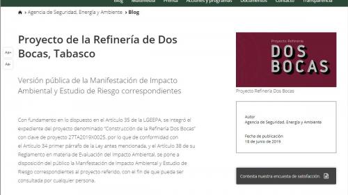 Da de baja ASEA impacto ambiental de Dos Bocas de su página web