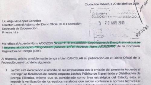 Sener frenó publicación de tres acuerdos de la CRE